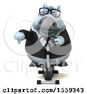 April 19th, 2018: Clipart Of A 3d Chubby White Business Horse Exercising On A Spin Bike On A White Background Royalty Free Illustration by Julos