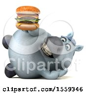 3d Chubby White Horse Holding A Burger On A White Background