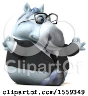 Clipart Of A 3d Chubby White Business Horse Meditating On A White Background Royalty Free Illustration