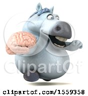 April 19th, 2018: Clipart Of A 3d Chubby White Horse Holding A Brain On A White Background Royalty Free Illustration by Julos
