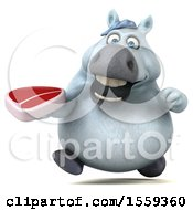 3d Chubby White Horse Holding A Steak On A White Background