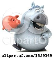 Poster, Art Print Of 3d Chubby White Horse Holding A Piggy Bank On A White Background