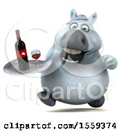 April 19th, 2018: Clipart Of A 3d Chubby White Horse Holding A Wine Tray On A White Background Royalty Free Illustration by Julos