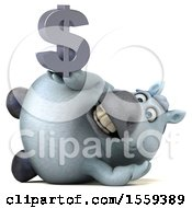 Poster, Art Print Of 3d Chubby White Horse Holding A Dollar Sign On A White Background