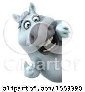 April 19th, 2018: Clipart Of A 3d Chubby White Horse Holding A Thumb Up On A White Background Royalty Free Illustration by Julos