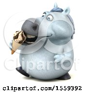 3d Chubby White Horse Holding A Waffle Cone On A White Background