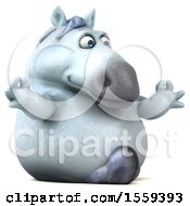 Clipart Of A 3d Chubby White Horse Meditating On A White Background Royalty Free Illustration