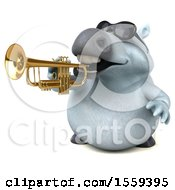Poster, Art Print Of 3d Chubby White Horse Playing A Trumpet On A White Background