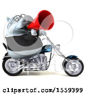 Clipart Of A 3d Chubby White Business Horse Biker Riding A Chopper Motorcycle On A White Background Royalty Free Illustration