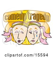 Two Face Masks One Laughing And One Crying On A ComedyTragedy Sign Clipart Illustration by Andy Nortnik