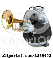 Poster, Art Print Of 3d Chubby White Business Horse Playing A Trumpet On A White Background
