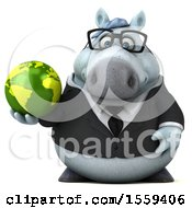 April 19th, 2018: Clipart Of A 3d Chubby White Business Horse Holding A Globe On A White Background Royalty Free Illustration by Julos