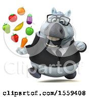 3d Chubby White Business Horse Holding Produce On A White Background