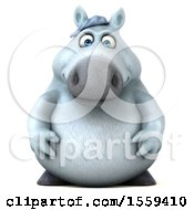 Clipart Of A 3d Chubby White Horse On A White Background Royalty Free Illustration by Julos