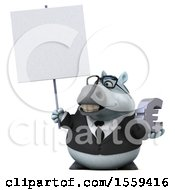 Poster, Art Print Of 3d Chubby White Business Horse Holding A Euro On A White Background