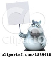 Clipart Of A 3d Chubby White Horse Holding A Sign On A White Background Royalty Free Illustration by Julos