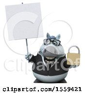 Clipart Of A 3d Chubby White Business Horse Holding A Padlock On A White Background Royalty Free Illustration by Julos