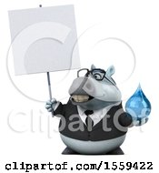 Clipart Of A 3d Chubby White Business Horse Holding A Water Drop On A White Background Royalty Free Illustration by Julos