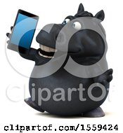 3d Chubby Black Horse Talking On A Smart Phone On A White Background