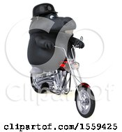 Clipart Of A 3d Chubby Black Horse Biker Riding A Chopper Motorcycle On A White Background Royalty Free Illustration