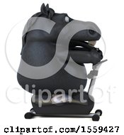 April 19th, 2018: Clipart Of A 3d Chubby Black Horse Exercising On A Spin Bike On A White Background Royalty Free Illustration by Julos
