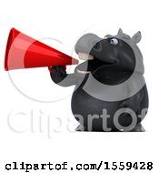 April 19th, 2018: Clipart Of A 3d Chubby Black Horse Using A Megaphone On A White Background Royalty Free Illustration by Julos