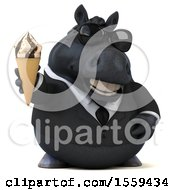 3d Chubby Black Business Horse Holding A Waffle Cone On A White Background
