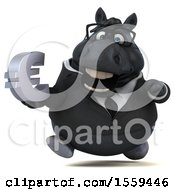 Poster, Art Print Of 3d Chubby Black Business Horse Holding A Euro On A White Background