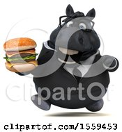 3d Chubby Black Business Horse Holding A Burger On A White Background