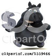 Poster, Art Print Of 3d Chubby Black Horse Holding A Dollar Sign On A White Background