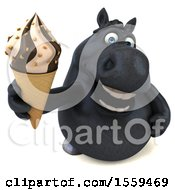 3d Chubby Black Horse Holding A Waffle Cone On A White Background