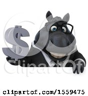 Poster, Art Print Of 3d Chubby Black Business Horse Holding A Dollar Sign On A White Background