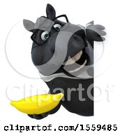 April 19th, 2018: Clipart Of A 3d Chubby Black Business Horse Holding A Banana On A White Background Royalty Free Illustration by Julos