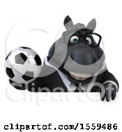 Poster, Art Print Of 3d Chubby Black Business Horse Holding A Soccer Ball On A White Background