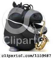 Poster, Art Print Of 3d Chubby Black Business Horse Playing A Saxophone On A White Background