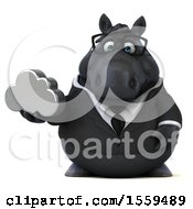 3d Chubby Black Business Horse Holding A Cloud On A White Background