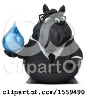 3d Chubby Black Business Horse Holding A Water Drop On A White Background