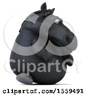 3d Chubby Black Horse Walking On A White Background