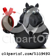3d Chubby Black Business Horse Holding A Chocolate Egg On A White Background