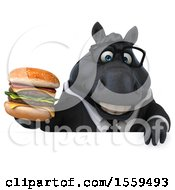 Poster, Art Print Of 3d Chubby Black Business Horse Holding A Burger On A White Background