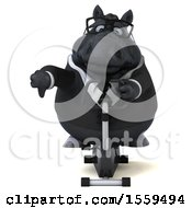 Poster, Art Print Of 3d Chubby Black Business Horse Exercising On A Spin Bike On A White Background
