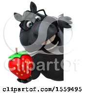 3d Chubby Black Business Horse Holding A Strawberry On A White Background