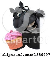3d Chubby Black Business Horse Holding A Cupcake On A White Background
