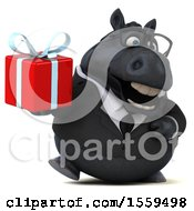 3d Chubby Black Business Horse Holding A Gift On A White Background