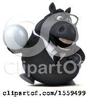 3d Chubby Black Business Horse Holding A Golf Ball On A White Background