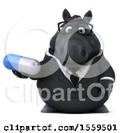 April 19th, 2018: Clipart Of A 3d Chubby Black Business Horse Holding A Pill On A White Background Royalty Free Illustration by Julos