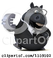 3d Chubby Black Business Horse Holding A Euro On A White Background