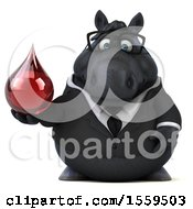 Poster, Art Print Of 3d Chubby Black Business Horse Holding A Blood Drop On A White Background