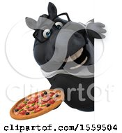 3d Chubby Black Business Horse Holding A Pizza On A White Background