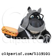 Poster, Art Print Of 3d Chubby Black Business Horse Holding A Hot Dog On A White Background